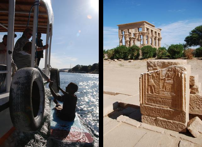 Zdjęcie żebrzącego chłopca podpływającego na prowizorycznej desce do statku wycieczkowego oraz zdjęcie zabytków antycznej architektury